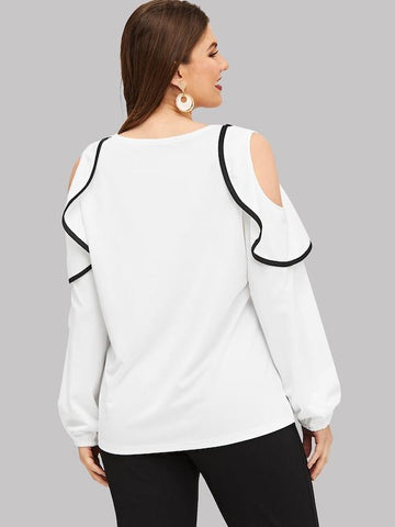Plus Size Cut Out Shoulder Ruffle Blouse