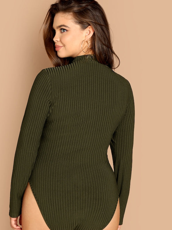 Plus Size Choker Neck Rib-Knit Bodysuit