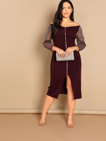 Plus Size Glitter Sheer Sleeve Zip Front Bardot Dress