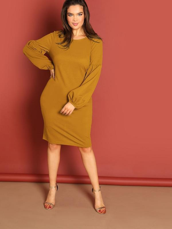 Plus Drop Shoulder Split Solid Dress