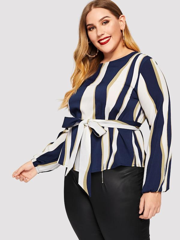 Plus Size Colorful Striped Tie Waist Blouse