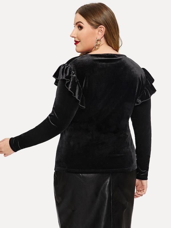 Plus Size Ruffle Trim Form Fitted Velvet Tee