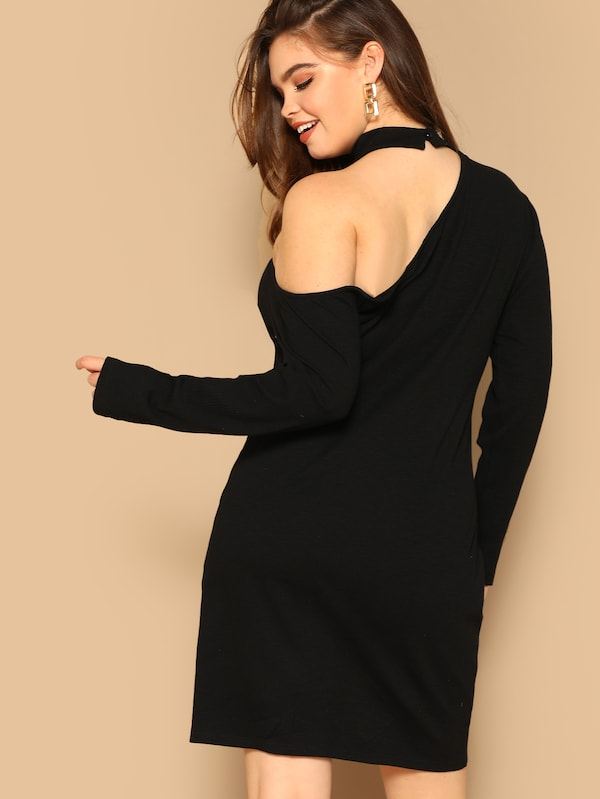 Plus Size Button Embellished One Shoulder Rib-Knit Dress