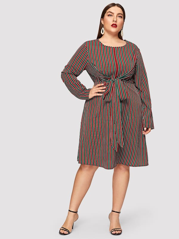 Plus Size Knotted Front Striped Fit & Flare Dress