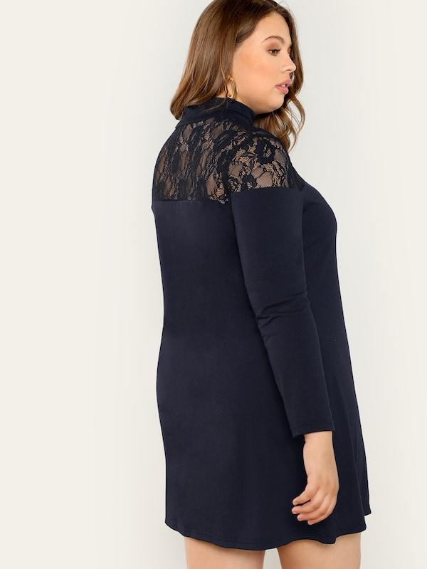 Plus Size Lace Yoke High Neck Swing Dress