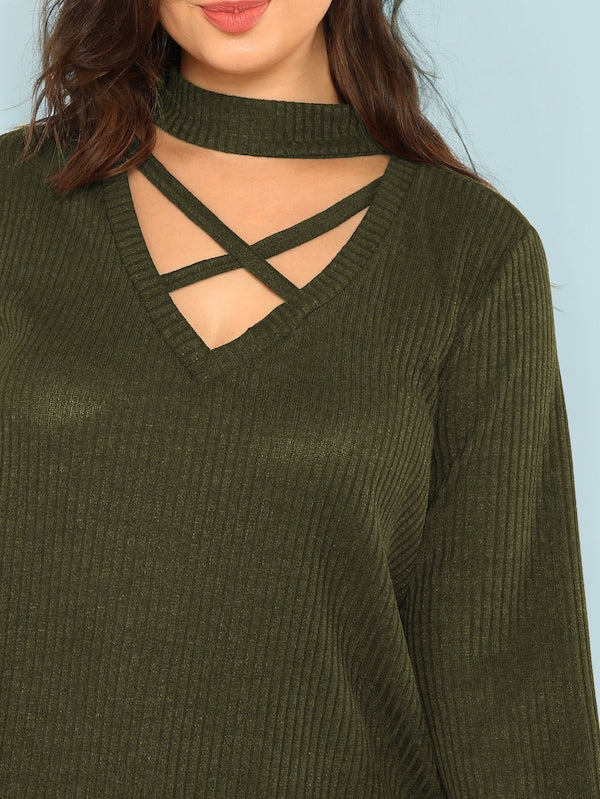 Plus Size Crisscross Choker Neck Rib-Knit Top