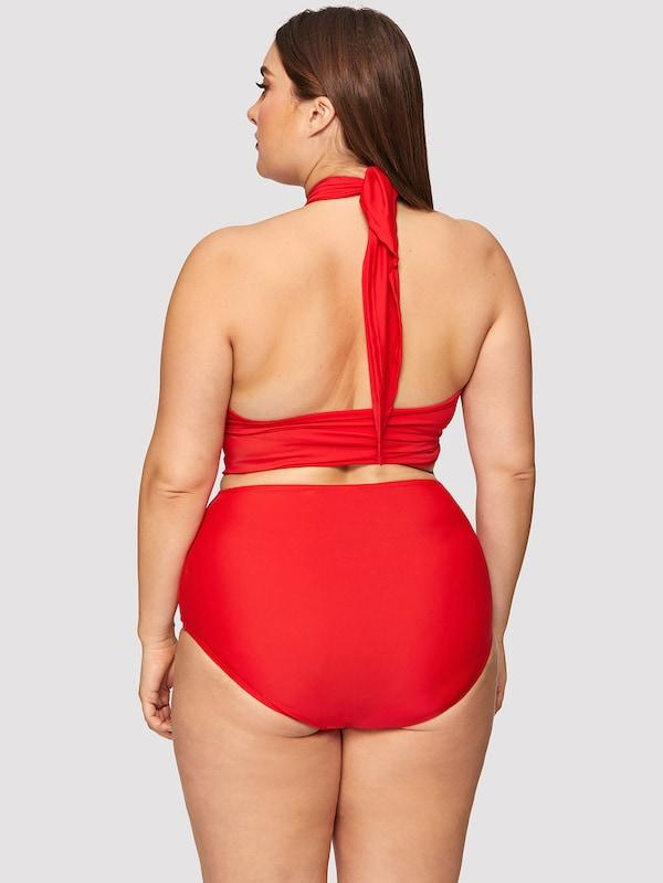Plus Size Wrap Halter Top With High Waist Bikini