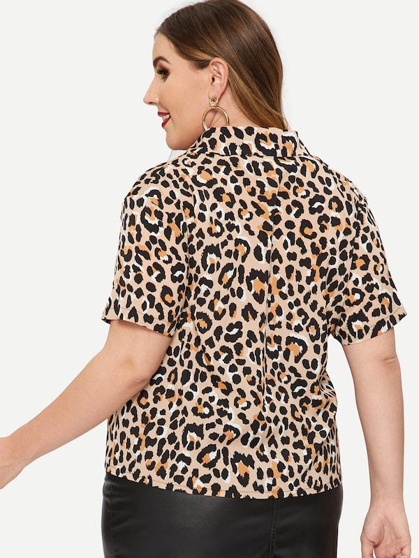Plus Size Leopard Print Single-Breasted Blouse