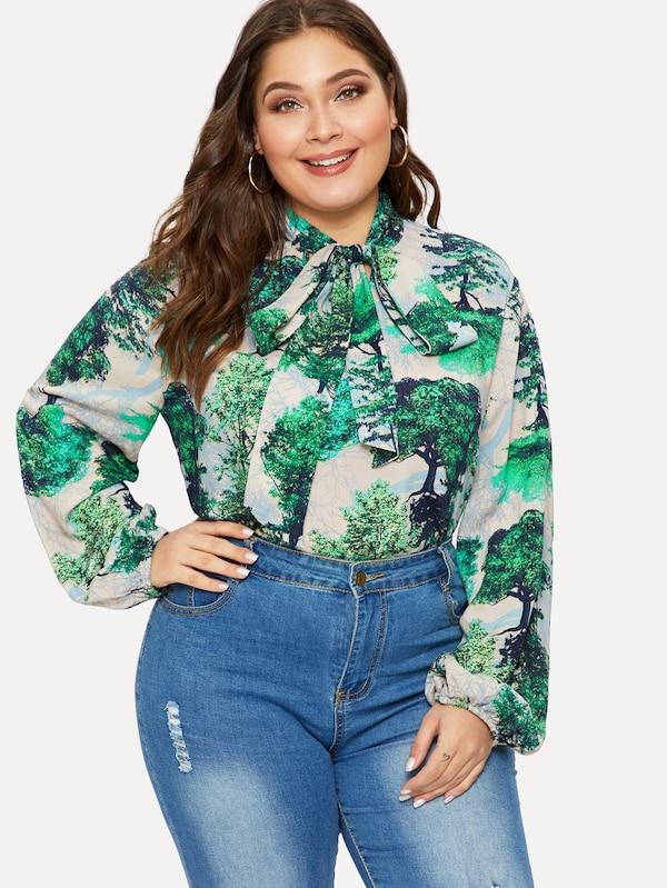 Plus Size Tie Neck Plant Print Top