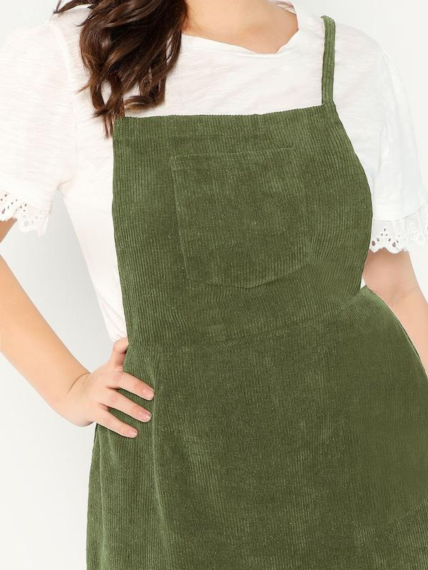 Plus Size Bib Pocket Patched Corduroy Dress