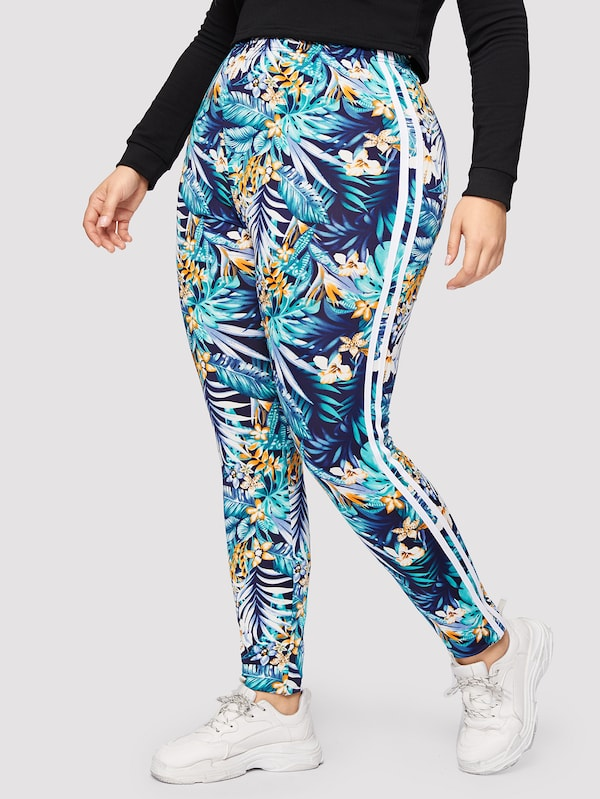 Plus Size Striped Side Seam Tropical Leggings