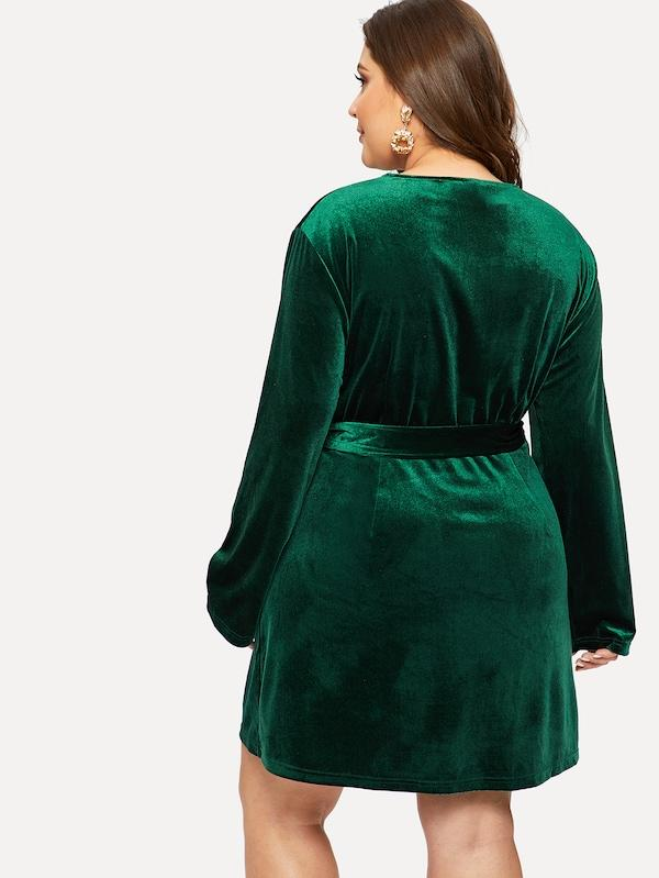 Plus Size Self Belted Surplice Wrap Velvet Dress