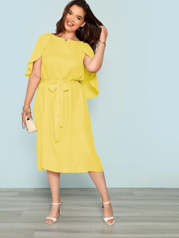 Plus Size Cape Sleeve Belted Dress