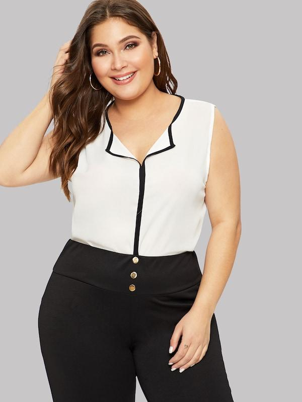 Plus Size Contrast Trim Sleeveless Blouse