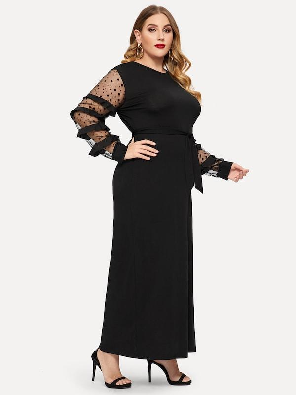 Plus Size Ruffle Sleeve Self Tie Dress