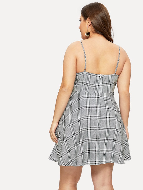 Plus Size Ruffle Plaid Cami Dress