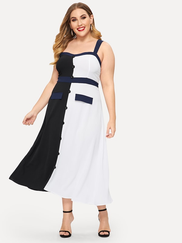 Plus Size Button Through Contrast Panel Cami Dress