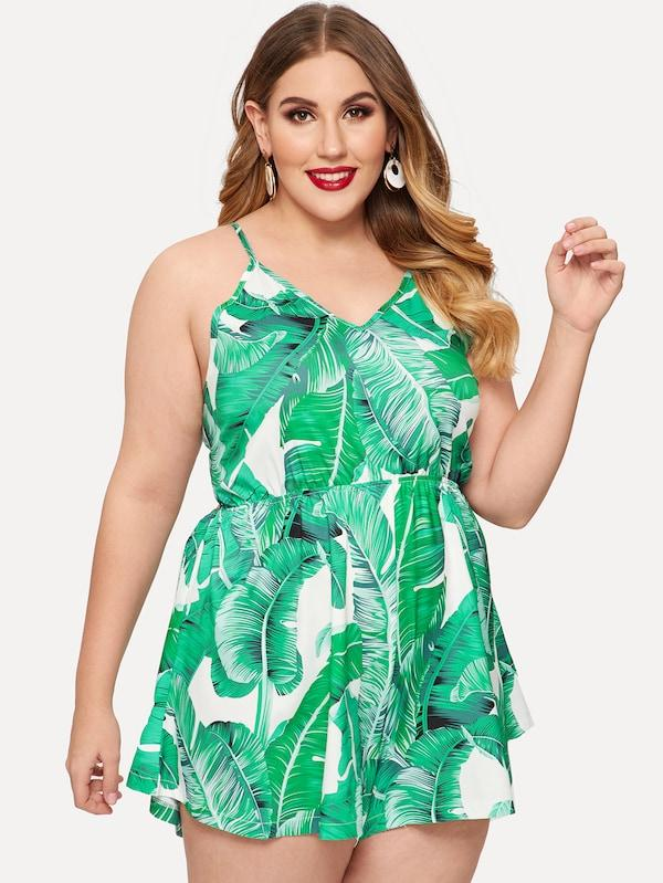 Plus Size Palm Tree Print Knot Back Jumpsuit