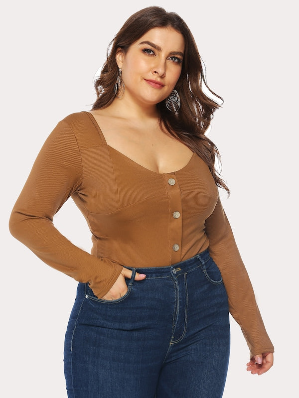 Plus Size Button Front Ribbed Bodysuit