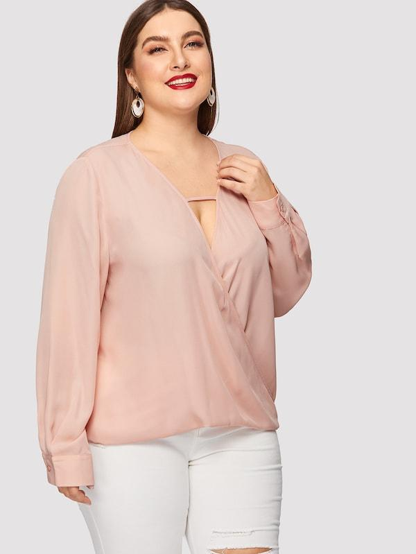 Plus Size Surplice Wrap Solid Top