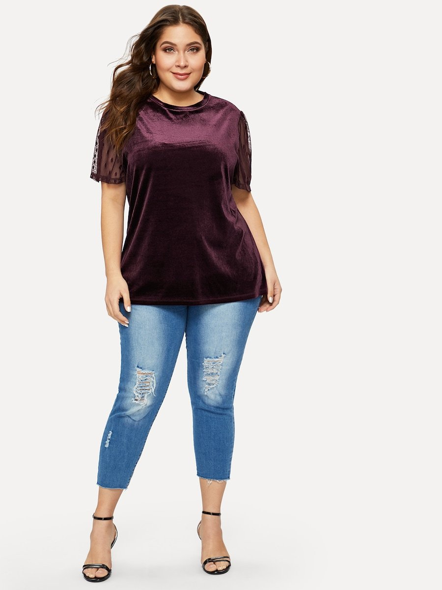 Plus Size Dot Mesh Sleeve Velvet Tee