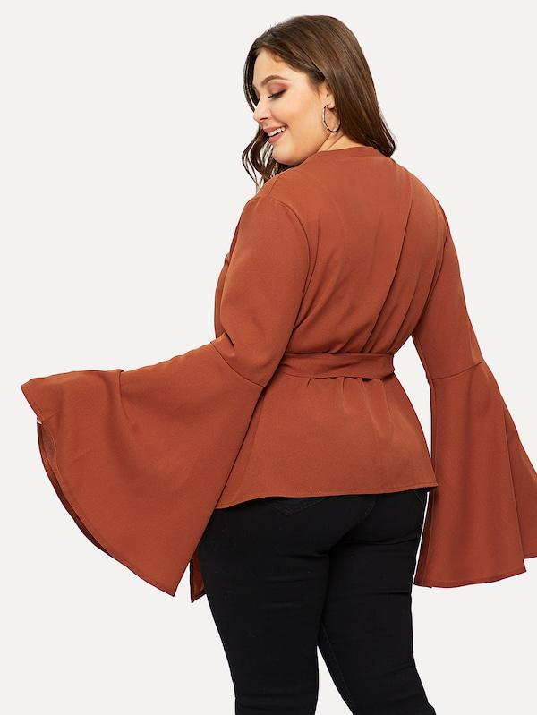 Plus Size Self-Tie Flounce Sleeve Wrap Blouse