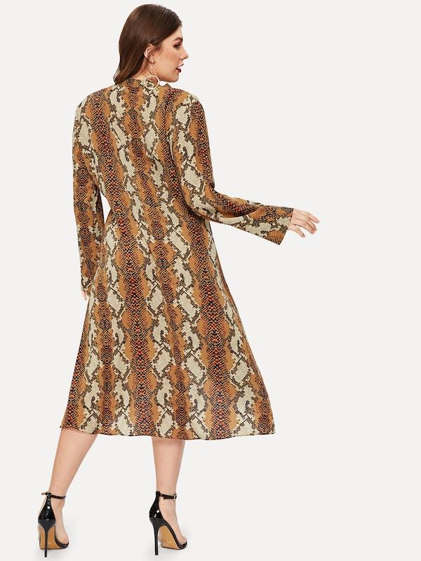 Plus Snakeskin Print Surplice Front Chiffon Dress