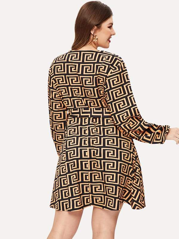 Plus Size Greek Key Pattern Self-Tie Dress