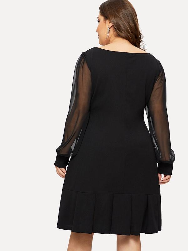 Plus Mesh Sleeve Square Neck Solid Dress