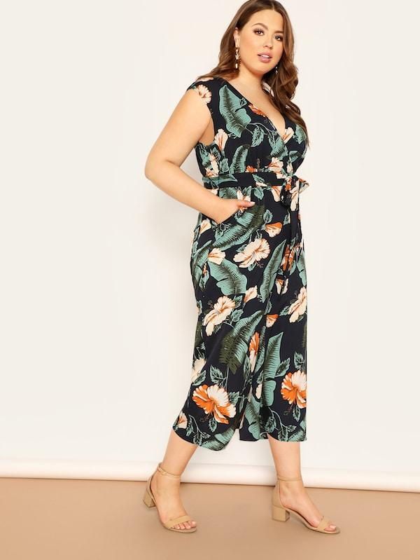 Plus Size Jungle Leaf Print Surplice Shell Jumpsuit