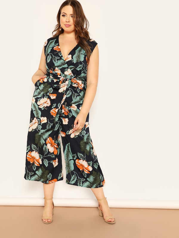 a621d695628 Plus Size Jungle Leaf Print Surplice Shell Jumpsuit – Plussizefix