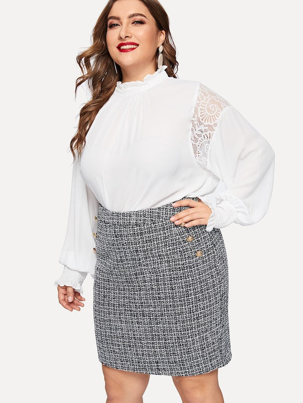 Plus Size Gold Button Tweed Skirt