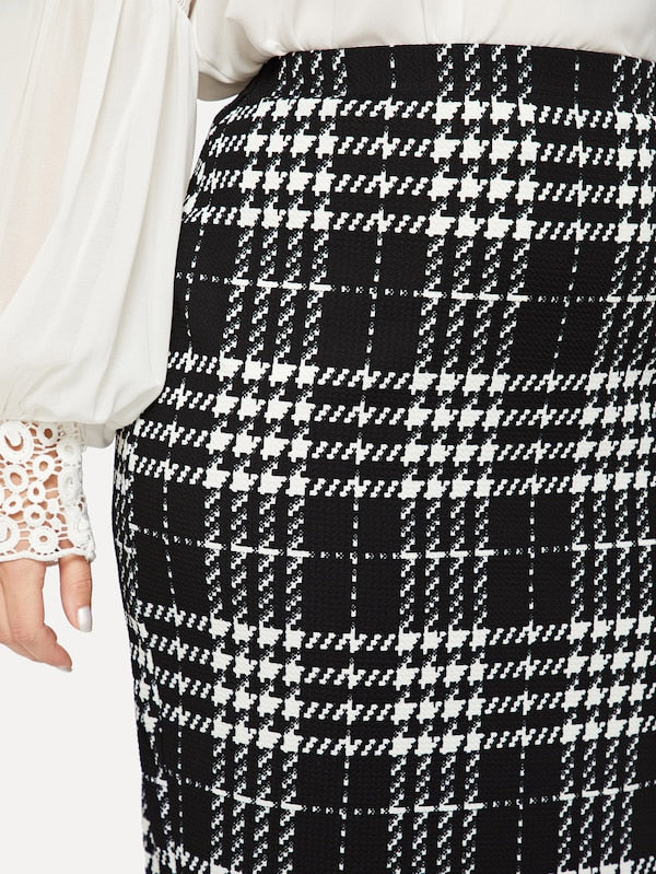 Plus Size Plaid Print Bodycon Skirt