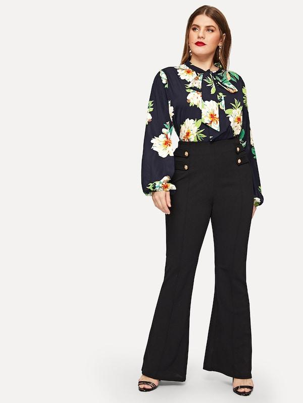 Plus Size Tie Neck Flower Print Top