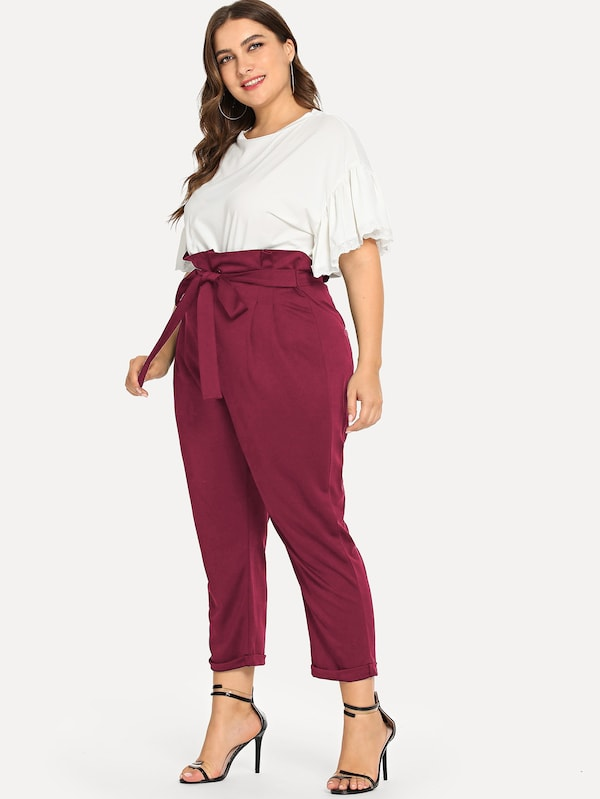 Plus Size Self Tie Waist Paperbag Trouser Pants
