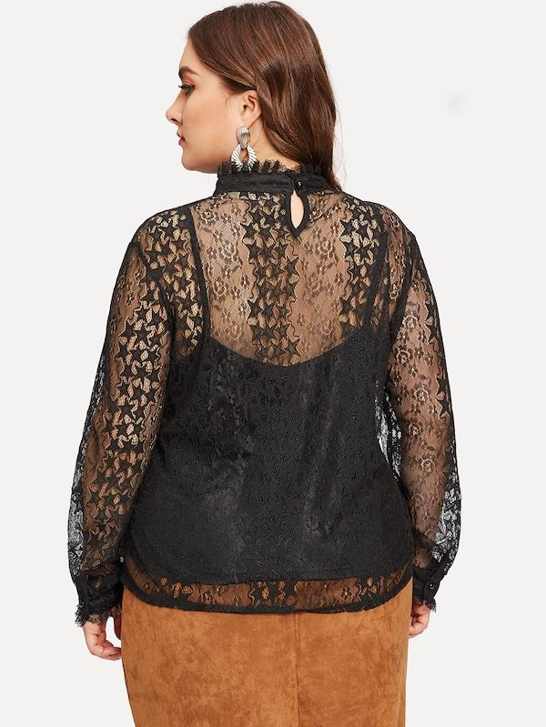 Plus Star Pattern Sheer Blouse With Cami Top