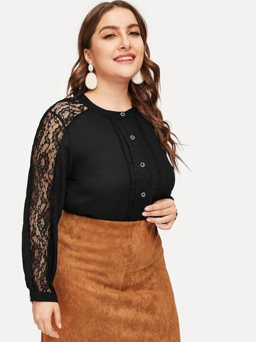 Plus Size Button Through Lace Panel Sleeve Blouse