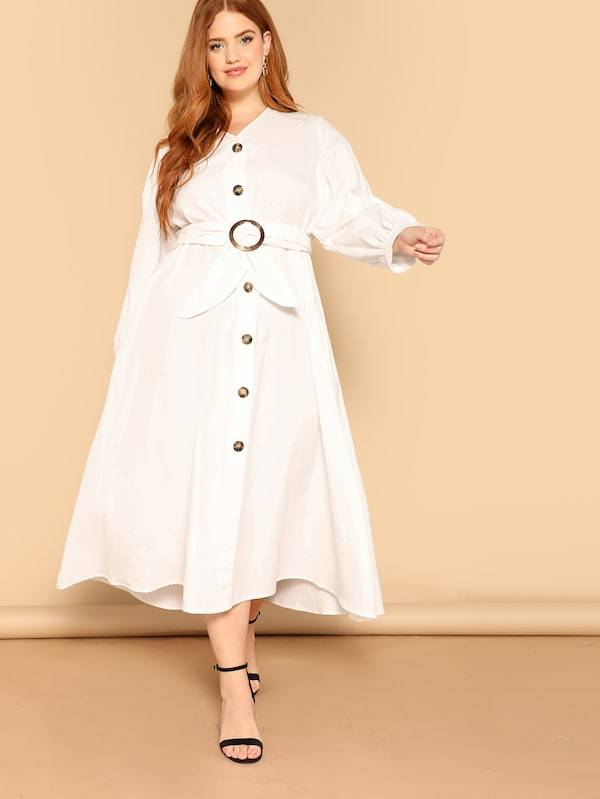 Plus Size O-Ring Belted Button Up Dress