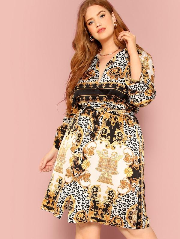 Plus Size Ornate Print Roll Tab Sleeve Dress