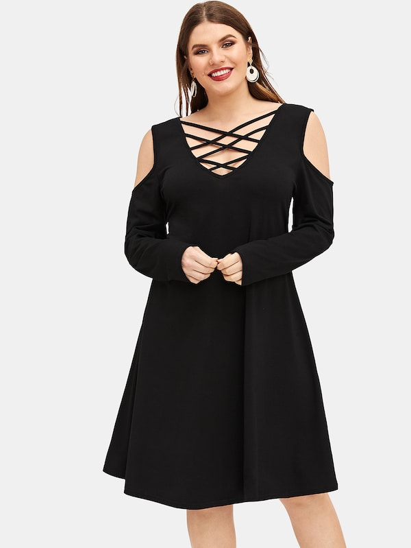 Plus Size Criss-Cross Cold Shoulder Fit & Flare Dress