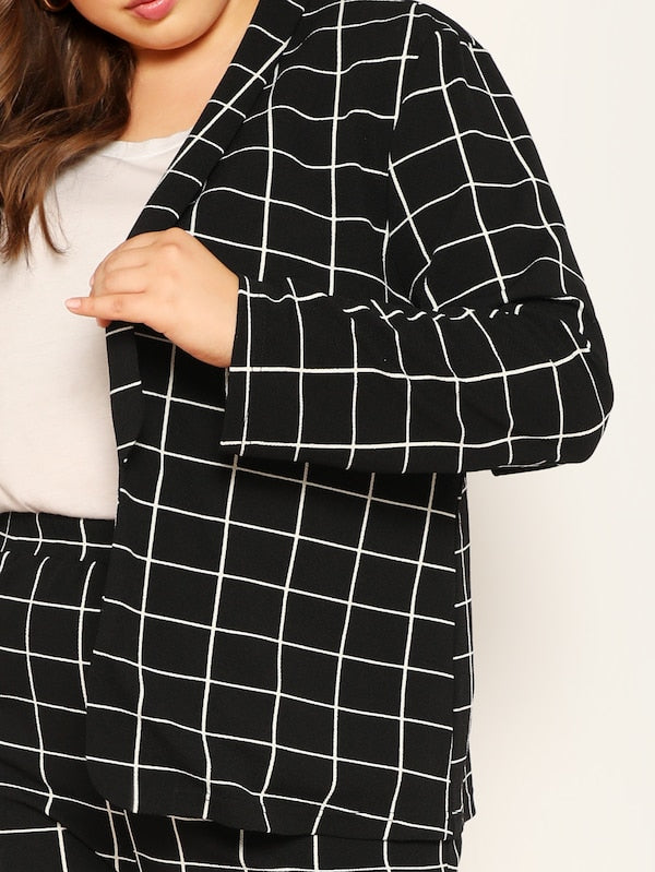 Plus Size Shawl Collar Grid Blazer & Pants Set