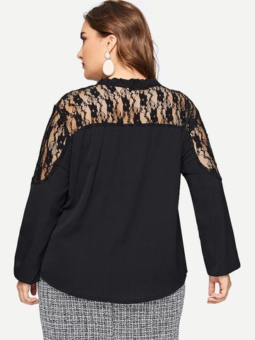 Plus Size Tie Neck Eyelash Lace Insert Top