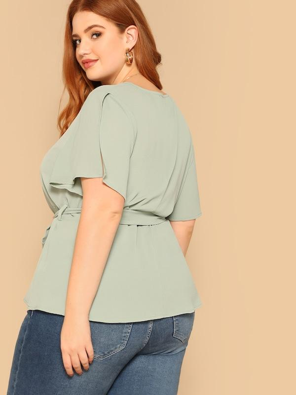 Plus Size Slit Sleeve Solid Blouse