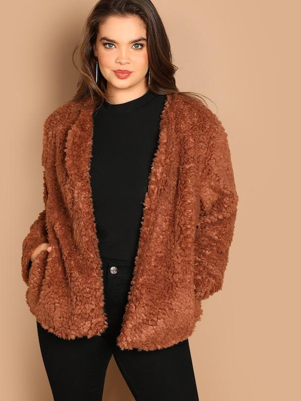 Plus Size Open Front Solid Teddy Coat