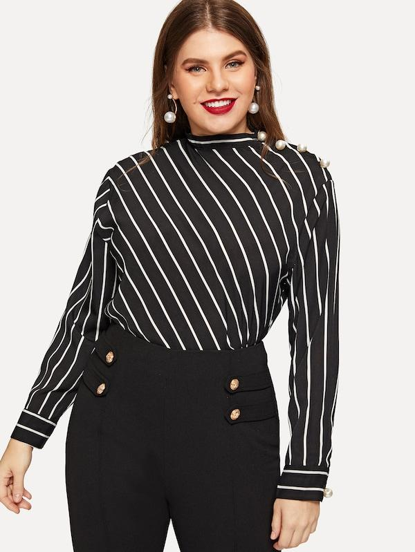 ad2438ba2f8 Plus Size Pearls Striped Blouse