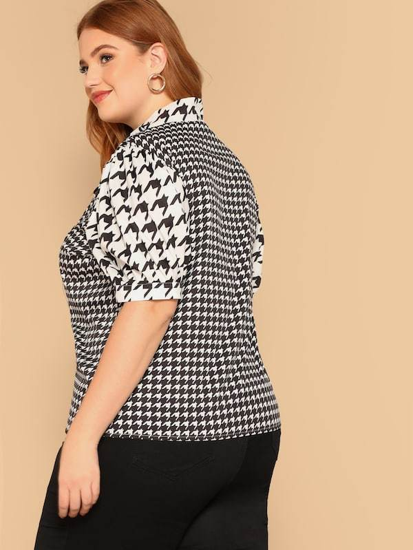 Plus Size Tie Neck Puff Sleeve Houndstooth Blouse