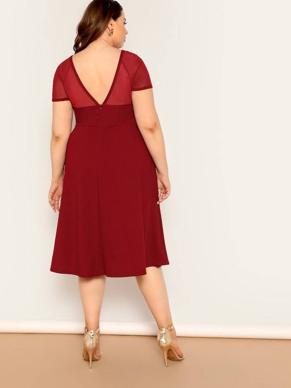 Plus V-Back Mesh Sweetheart Fit & Flare Dress
