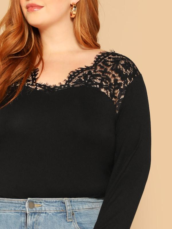 Plus Size Raw Trim Lace Shoulder Top