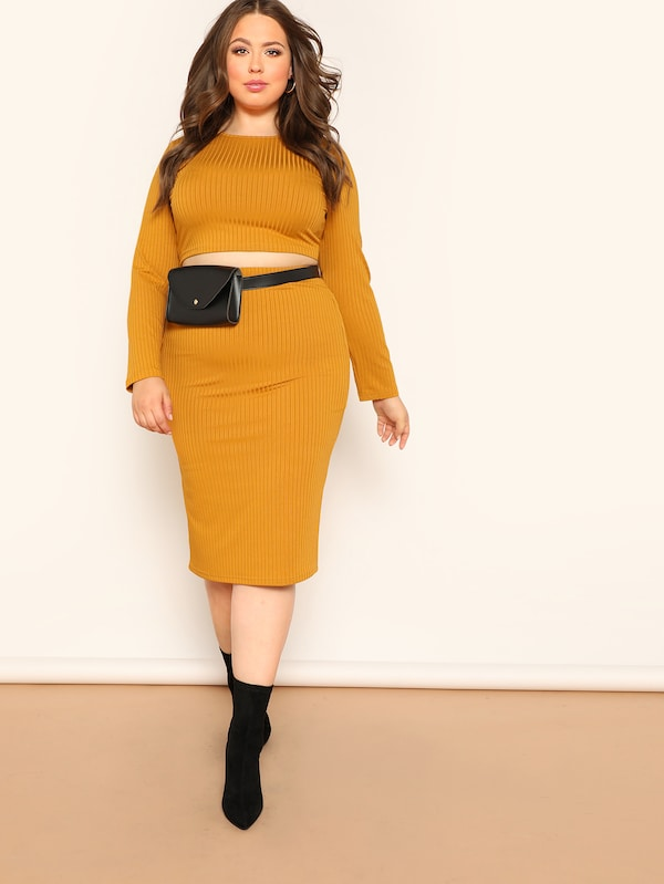 Plus Size Rib-Knit Top And Pencil Skirt Set
