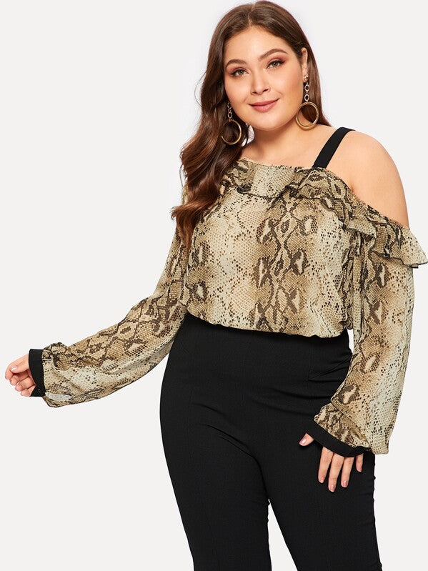 Plus Size Asymmetrical Flounce Layered Shoulder Snake Print Blouse